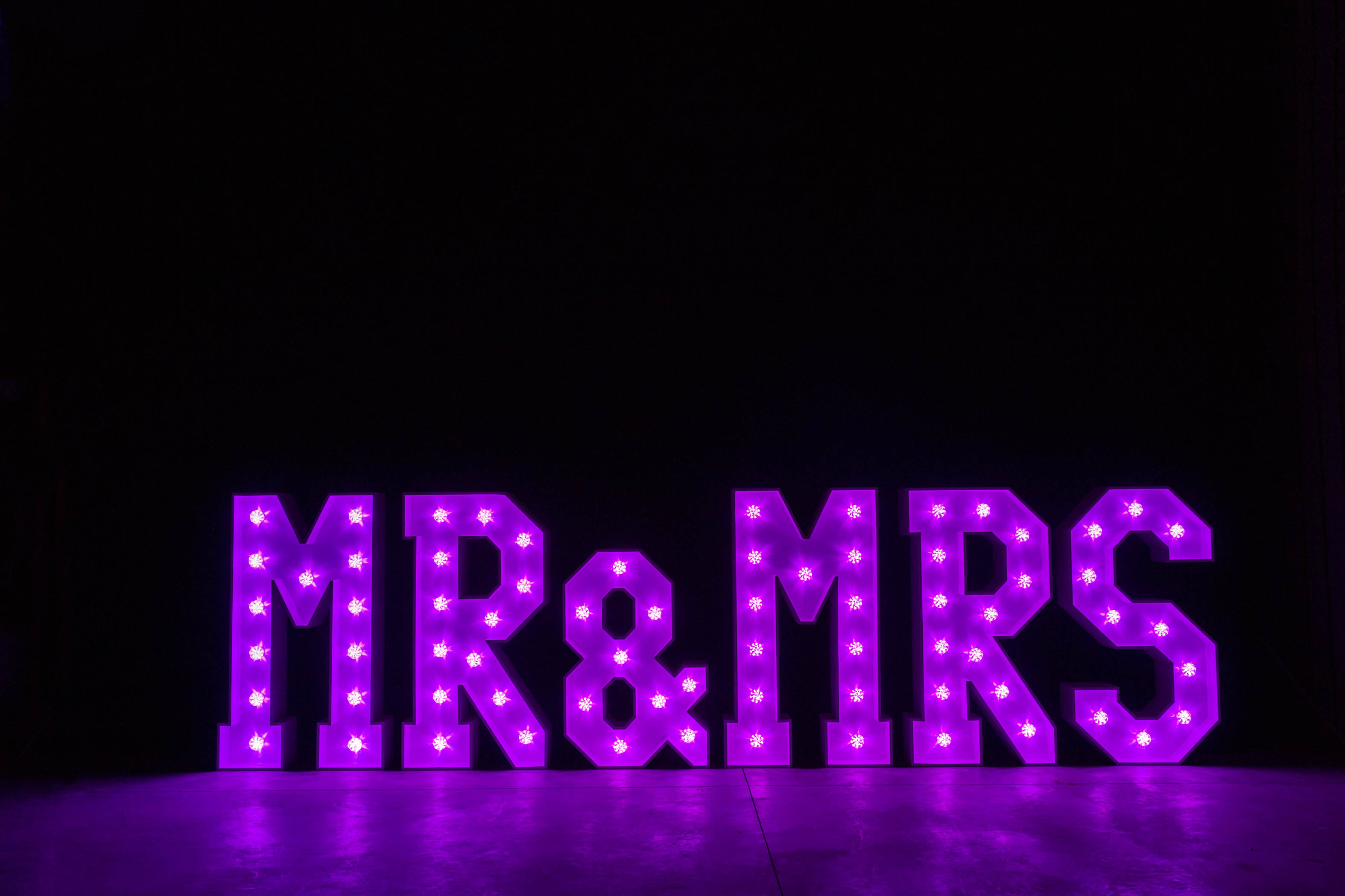 4' MR & MRS Letters - Purple Light - Photo by Viscosi Photography