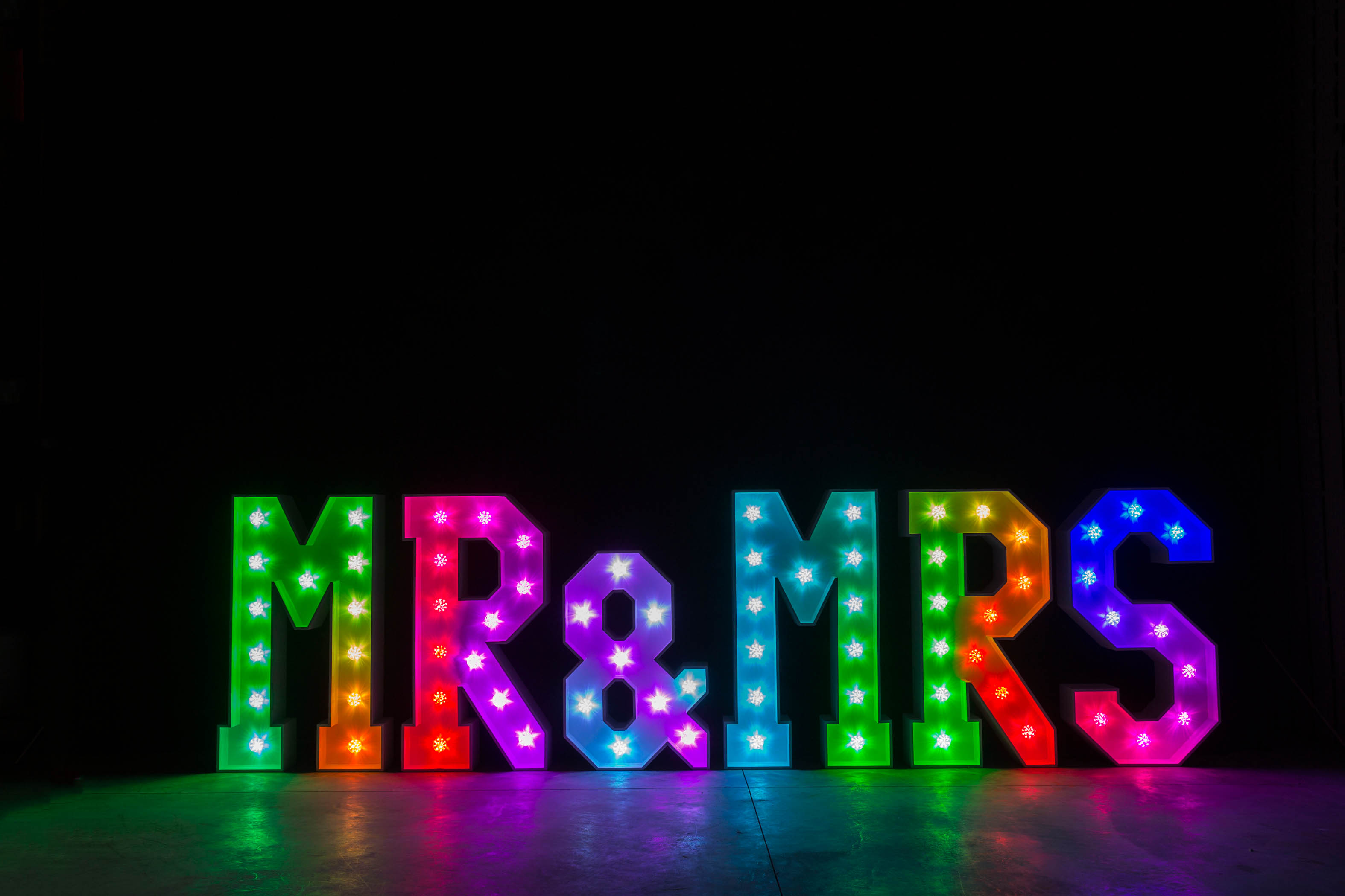 4' MR & MRS Letters - Rainbow Light - Photo by Viscosi Photography