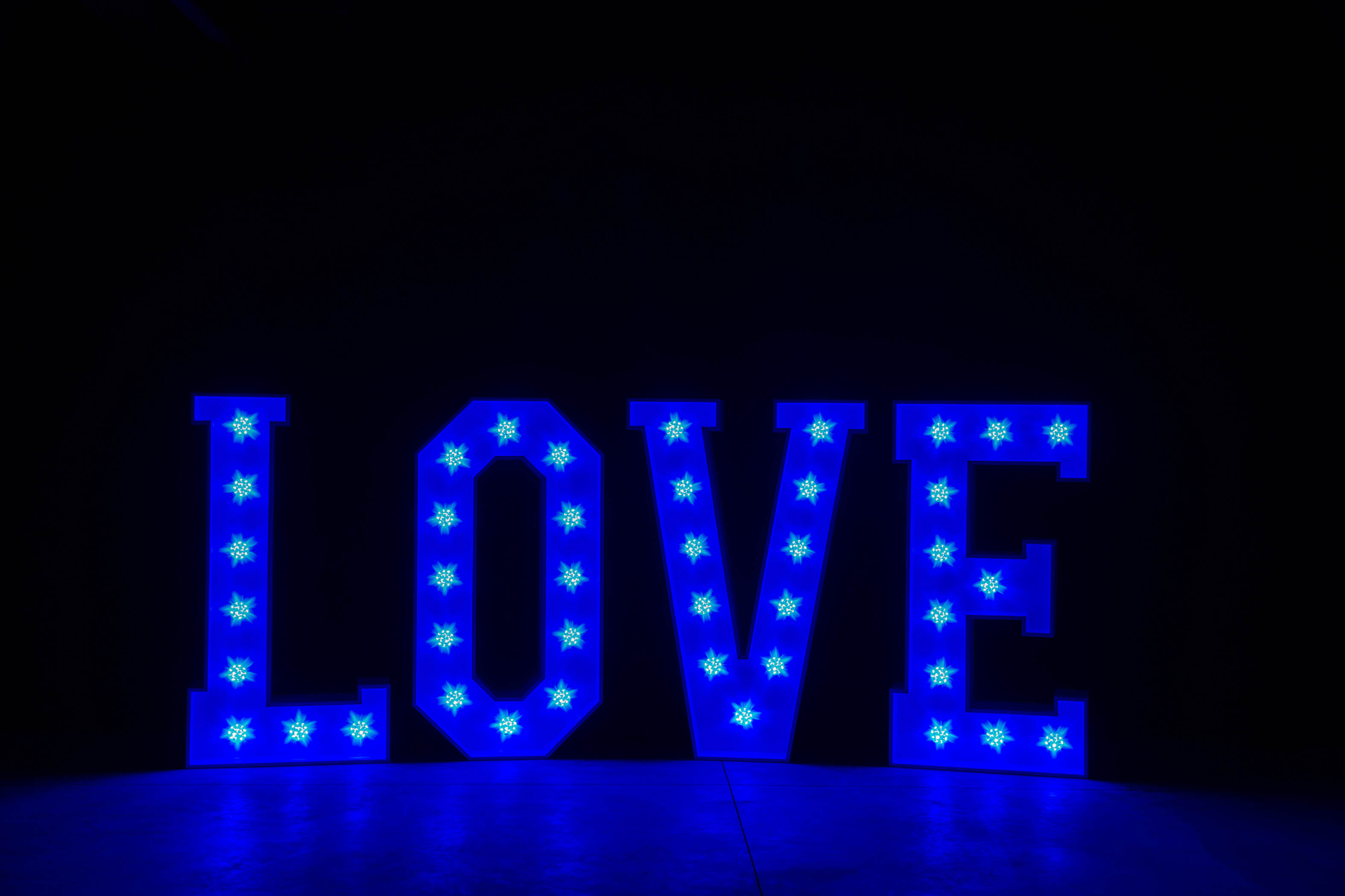 4' LOVE Letters - Blue Light - Photo by Viscosi Photography