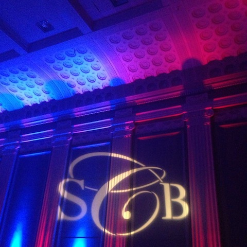 Monogram + Blue & Red Up Lighting at Key Hall at Proctors
