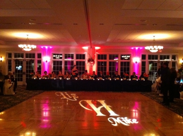 Monogram & Pink + Orange Up Lighting @ River Stone Manor