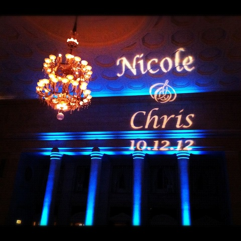 Monogram & Tiffany Blue Up Lighting @ The Hall of Springs