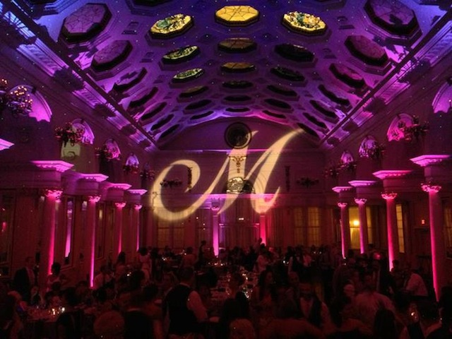 Pink/Purple Up Lighting & Monogram @ Canfield Casino