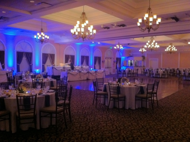 8 Blue Up Lights in Ballroom @ Glen Sanders Mansion