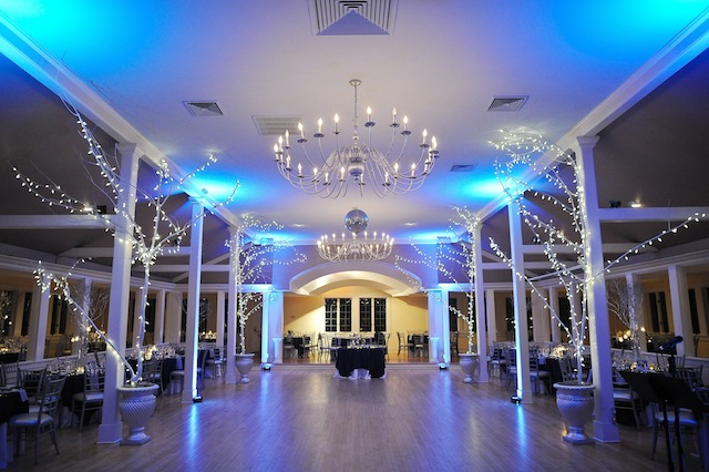 Tiffany Blue Up Lighting @ The Old Daley Inn on Crooked Lake - Photo by Casey Connell Photography