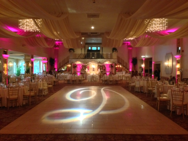 Pink Up Lighting & Monogram @ Mallozzi's
