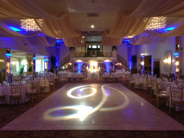Electric Blue Up Lighting & Monogram @ Mallozzi's