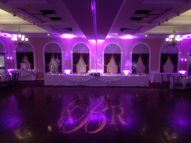 Purple Up Lighting & Monogram @ The Glen Sanders Mansion