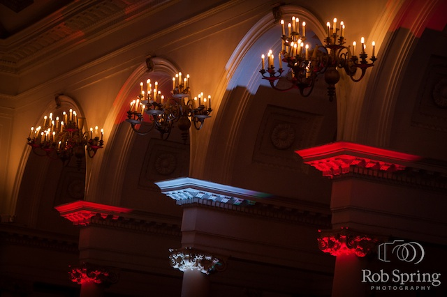 The Canfield Casino with Red & White Up Lighting - Photo by Rob Spring Photography