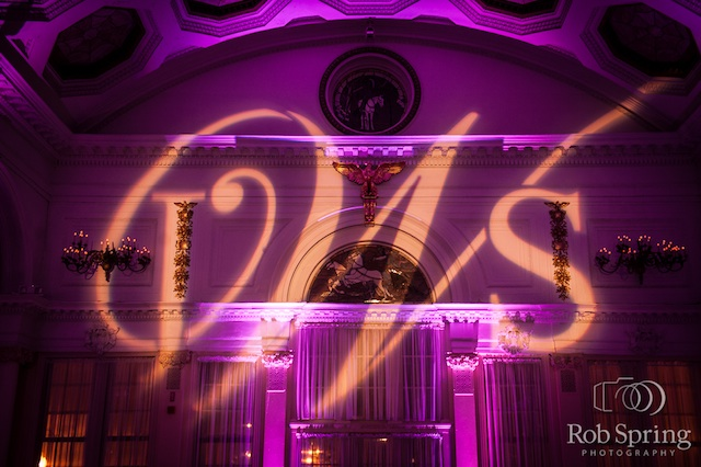 The Canfield Casino with Purple Up Lighting & Monogram - Photo by Rob Spring Photography