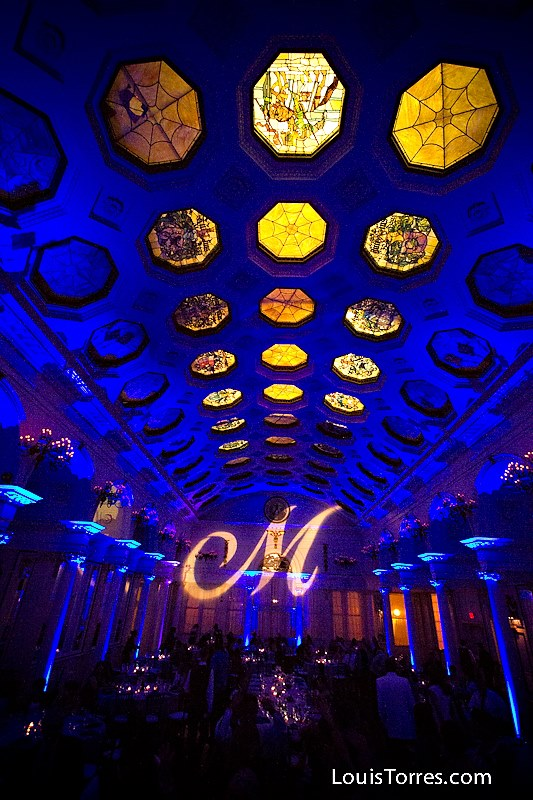 The Canfield Casino with Blue Up Lighting & Monogram - Photo by Louis Torres Photography