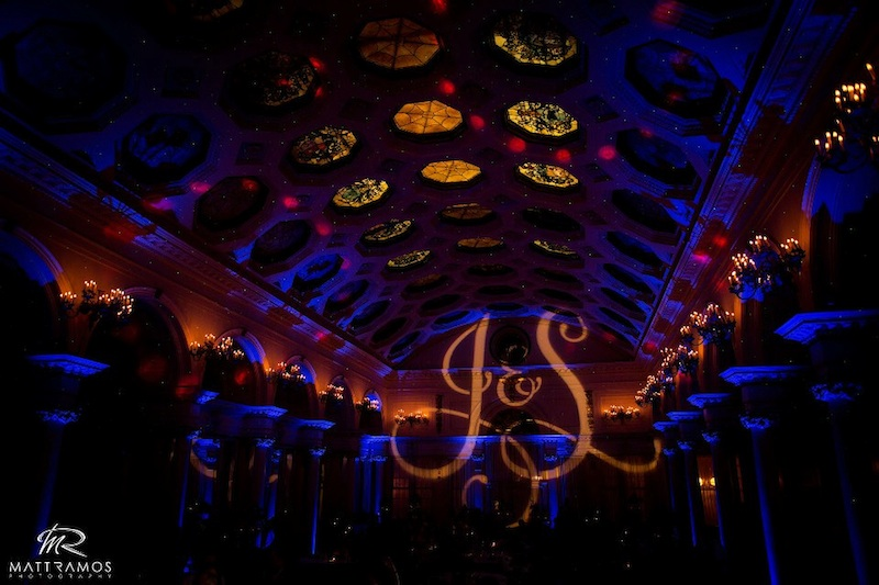 The Canfield Casino with Blue Up Lighting & Monogram - Photo by Matt Ramos Photography