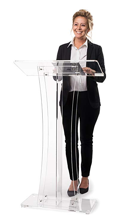 Clear Acrylic Stand Up, Floor-Standing Podium, Lectern w/ Mic Clip